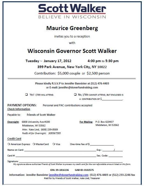 Scott Walker NYC fundraiser invitation