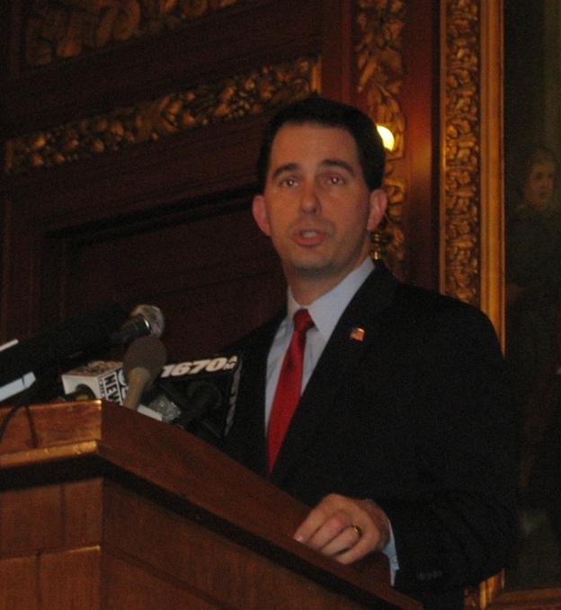 Scott Walker at press conference, February 21, 2011