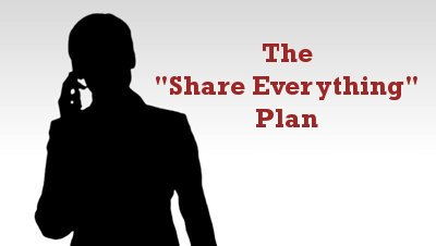 Share Everything Plan (silhouette of woman on phone)
