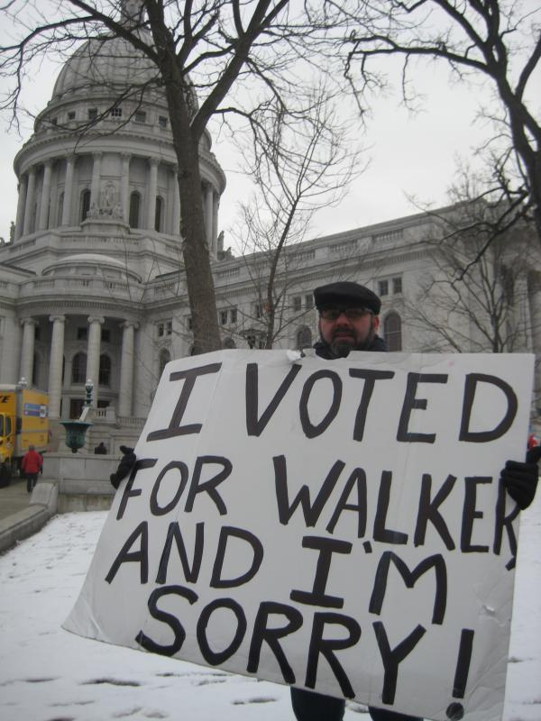 I Voted for Walker and I'm Sorry protest sign