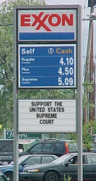 supreme court gas station sign