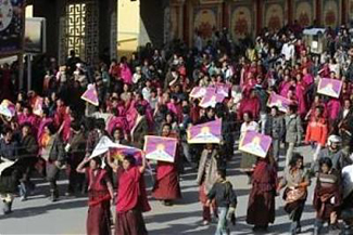 Monks holding a Tibet protest