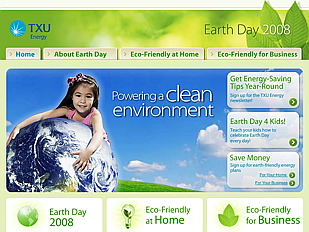 TXU's website for Earth Day 2008 depicts a child hugging the planet