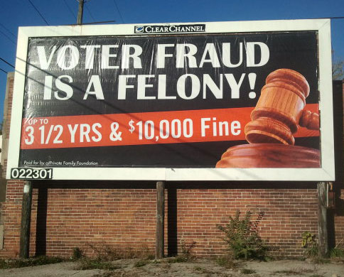 Voter Fraud Is A Felony billboard in Milwaukee