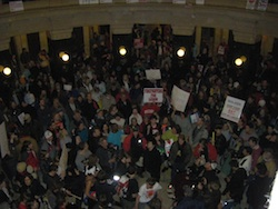 Protesters at Wisconsin state capitol building, March 2011