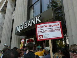 Protesters gather at M&I Bank