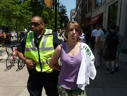 There were a few arrests at the bank, including this young woman