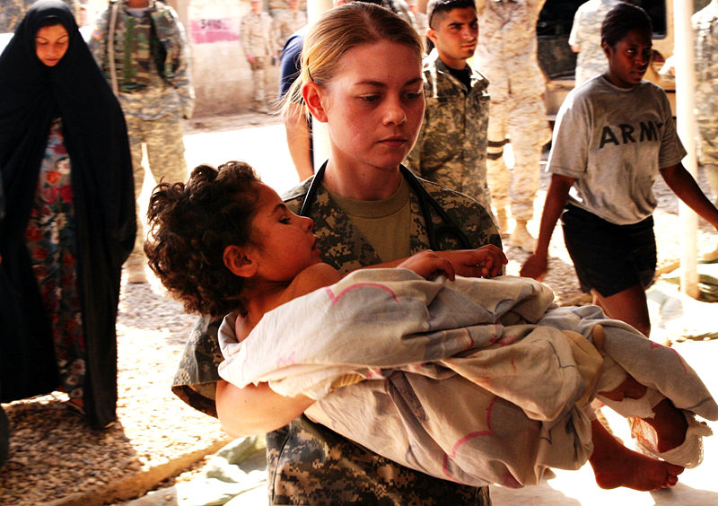 Wounded Iraqi child (U.S. Army picture)