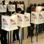 Voters fill their ballots at St. Jerome Parish in Los Angeles.