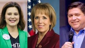 (L-R) Gretchen Whitmer (governor of Michigan), Lujan Grisham (governor of New Mexico), J.B. Pritzker (governor of Illinois)