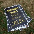Underfunded Schools Brought To You By ALEC sign, ALEC protest in Washington, DC, December 5, 2013