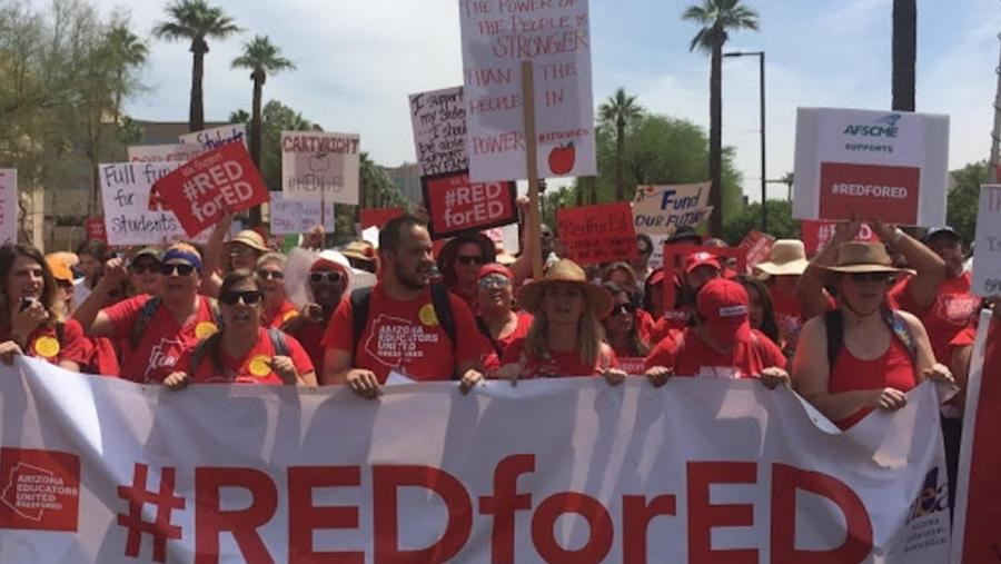 Arizona teachers #REDforED protest