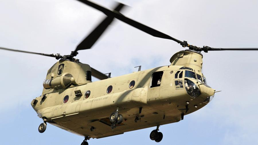 U.S. Army CH-47 Chinook helicopter flyby