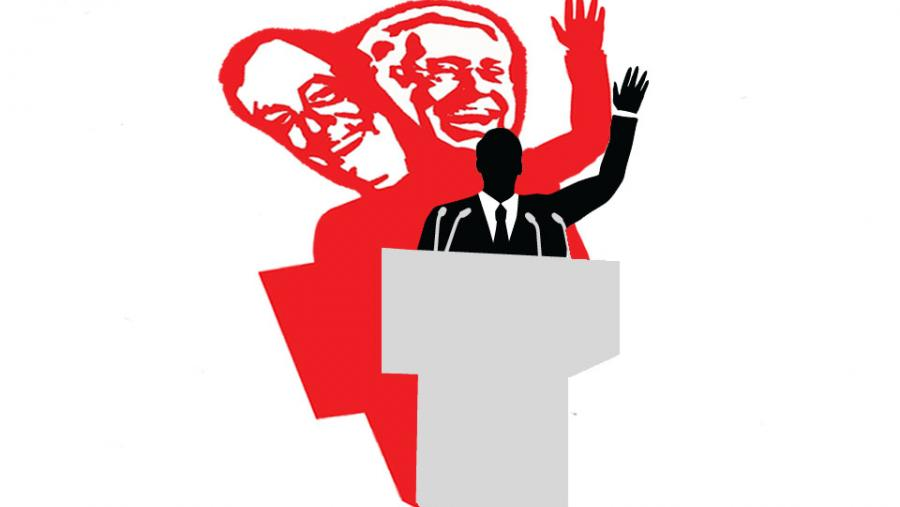 Koch brothers shadow behind politician