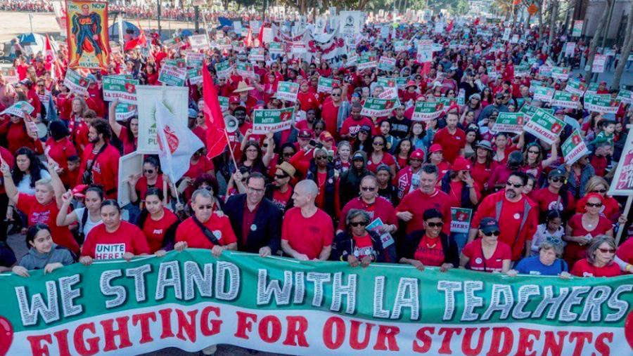 Thousands march for public education in Los Angeles.