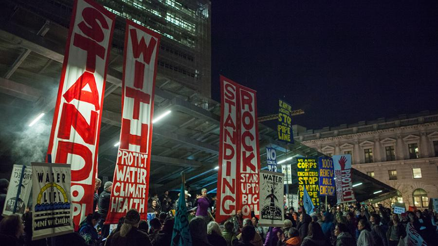 Protesters against the Dakota Access Pipeline and Keystone XL Pipeline demonstrate outside the San Francisco Federal Building. (Source: Wikimedia Commons, January 26, 2017)