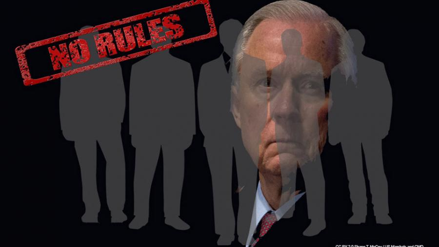 "Sessions behind businessmen ""No Rules"""