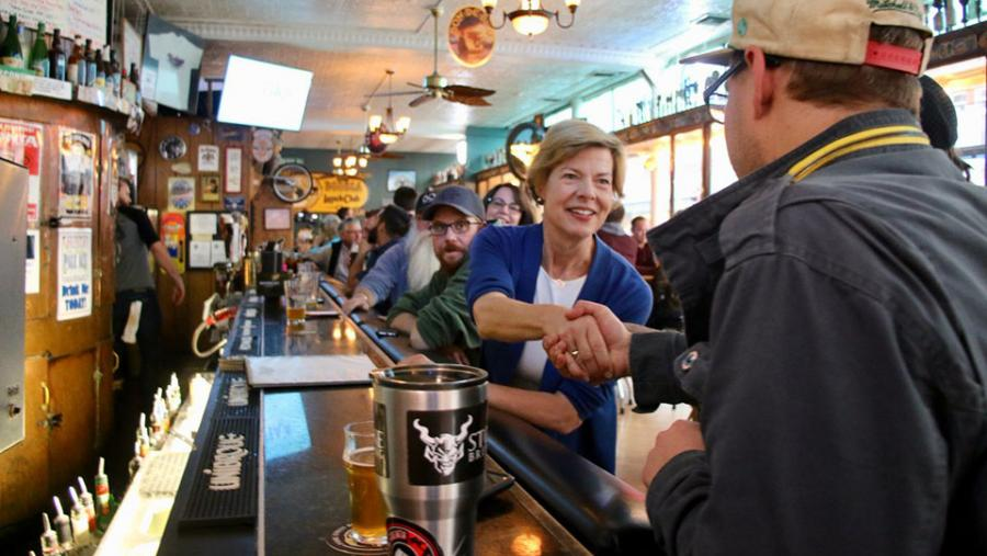 Tammy Baldwin having a beer at Bodega Brew Pub in La Crosse