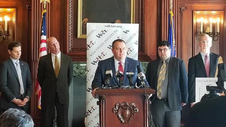 Wisconsin Republican State Senators Dave Craig, Duey Stroebel, and Chris Kapenga, and WILL's Will Flanders and CROWE's Noah Williams at unveiling of report on Medicaid expansion.