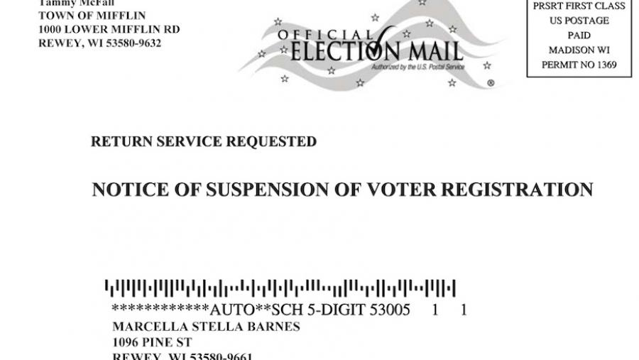 Wisconsin suspension of voter registration postcard