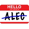 Image of name badge with ALEC crossed out