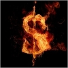 image of money symbol burning